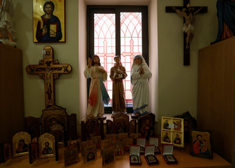 Religious statues, icons and crucifixes are displayed at Emmaus, a religious book and souvenir shop, at the Animation and Communication Centre run by the Maltese province of the Conventual Franciscans in Birkirkara