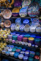 Turkish ceramics on sale at the Grand Bazaar in Istanbul, Turkey. Traditional Turkish ceramics