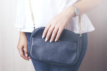 young style woman hand handbag