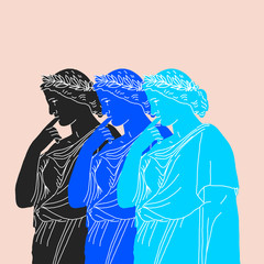 Illustration of pensive triple Antigone