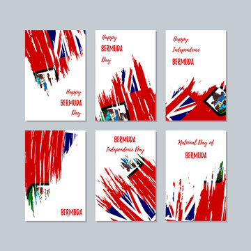 Bermuda Patriotic Cards for National Day. Expressive Brush Stroke in National Flag Colors on white card background. Bermuda Patriotic Vector Greeting Card.