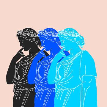 Illustration of pensive triple Antigone