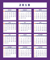 violet business american calendar for wall year 2018