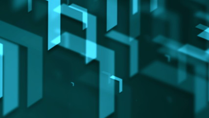 Movement of blue arrows. Technology background. 3d rendering