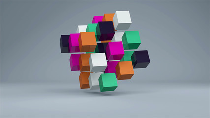 Abstract background with colorful cubes. 3d rendering