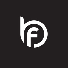Initial lowercase letter logo bf, fb, f inside b, monogram rounded shape, white color on black background