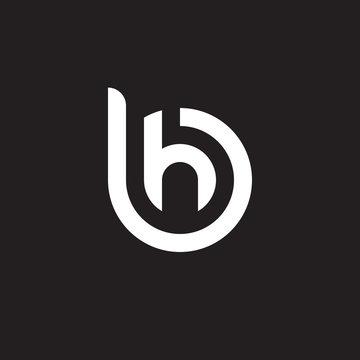 Initial lowercase letter logo bh, hb, h inside b, monogram rounded shape, white color on black background