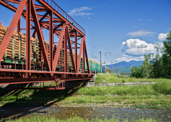 Railway bridge on the Trans-Siberian Railway near Lake Baikal