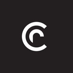 Initial lowercase letter logo cr, rc, r inside c, monogram rounded shape, white color on black background