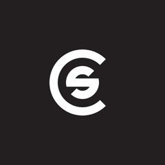 Initial lowercase letter logo cs, sc, s inside c, monogram rounded shape, white color on black background
