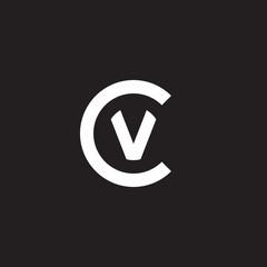 Initial lowercase letter logo cv, vc, v inside c, monogram rounded shape, white color on black background