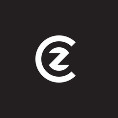 Initial lowercase letter logo cz, zc, z inside c, monogram rounded shape, white color on black background