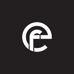 Initial lowercase letter logo ef, fe, f inside e, monogram rounded shape, white color on black background