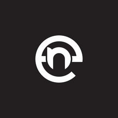 Initial lowercase letter logo en, ne, n inside e, monogram rounded shape, white color on black background