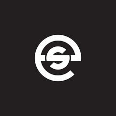 Initial lowercase letter logo es, se, s inside e, monogram rounded shape, white color on black background