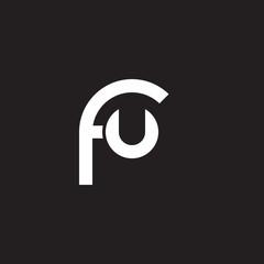 Initial lowercase letter logo fu, uf, u inside f, monogram rounded shape, white color on black background