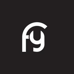 Initial lowercase letter logo fy, yf, y inside f, monogram rounded shape, white color on black background