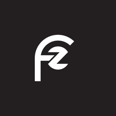 Initial lowercase letter logo fz, zf, z inside f, monogram rounded shape, white color on black background