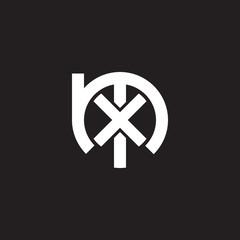 Initial lowercase letter logo mx, xm, x inside m, monogram rounded shape, white color on black background
