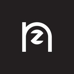Initial lowercase letter logo nz, zn, z inside n, monogram rounded shape, white color on black background