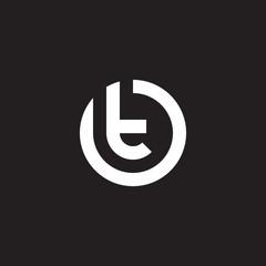 Fototapeta Initial lowercase letter logo ot, to, t inside o, monogram rounded shape, white color on black background obraz