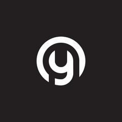 Initial lowercase letter logo oy, yo, y inside o, monogram rounded shape, white color on black background