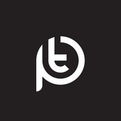 Initial lowercase letter logo pt, tp, t inside p, monogram rounded shape, white color on black background