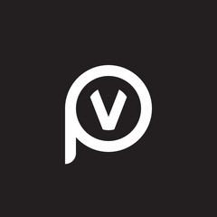Initial lowercase letter logo pv, vp, v inside p, monogram rounded shape, white color on black background