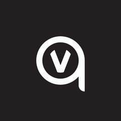Initial lowercase letter logo qv, vq, v inside q, monogram rounded shape, white color on black background