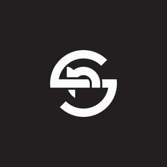 Initial lowercase letter logo sr, rs, r inside s, monogram rounded shape, white color on black background