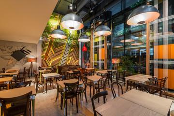 Modern restaurant interior in the night