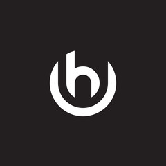 Initial lowercase letter logo uh, hu, h inside u, monogram rounded shape, white color on black background