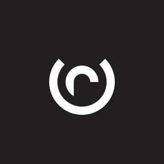 Initial lowercase letter logo ur, ru, r inside u, monogram rounded shape, white color on black background