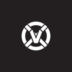 Initial lowercase letter logo xv, vx, v inside x, monogram rounded shape, white color on black background