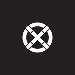 Initial lowercase letter logo xx, x inside x, monogram rounded shape, white color on black background