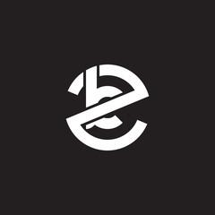 Initial lowercase letter logo zk, kz, k inside z, monogram rounded shape, white color on black background