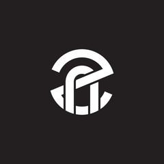 Initial lowercase letter logo zn, nz, n inside z, monogram rounded shape, white color on black background