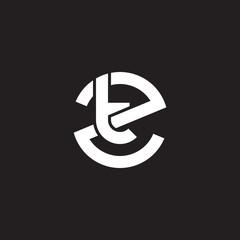 Initial lowercase letter logo zt, tz, t inside z, monogram rounded shape, white color on black background