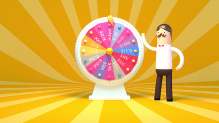 3d rendering picture of fortune wheel and cartoon character.
