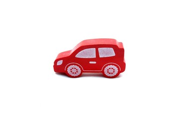 Red Wooden Car Toy Isolated on White Background.