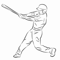 Illustration of a baseball player, vector draw
