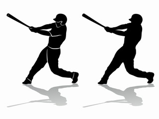 silhouette of a baseball player, vector draw