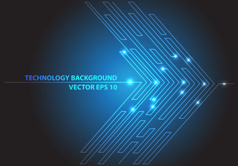 Abstract blue line light arrow circuit futuristic technology network internet graphic design background vector illustration.