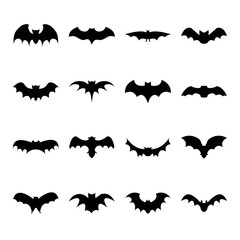 Set of bat silhouette flat icon on white background, halloween symbol for web. vector illustration