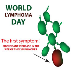 World Lymphoma Day. Increase in the size of the lymph nodes. Vector illustration on isolated background