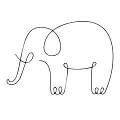 One line elephant design silhouette. Hand drawn minimalism style