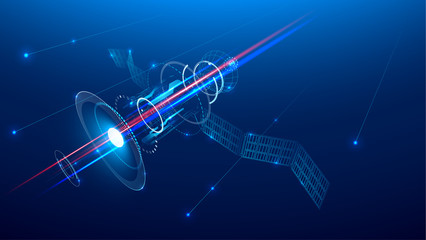 Technology background. A communications satellite is flying in space above the earth. Wireframe technology style. VECTOR