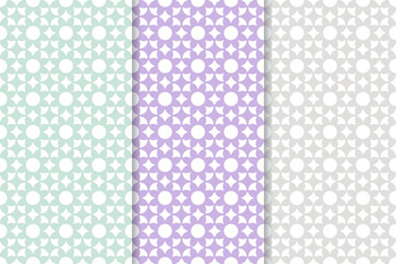 Set of colored vertical floral seamless patterns