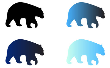 Four silhouettes of logo bears