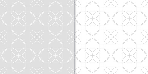 Geometric seamless patterns. Gray set